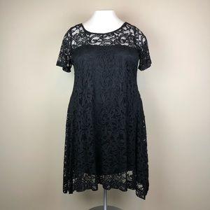 Lane Bryant Black Lace Short Sleeve Dress